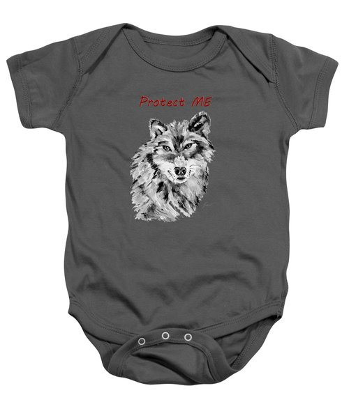 Protect Me - Wolf Art By Valentina Miletic Baby Onesie by Valentina Miletic