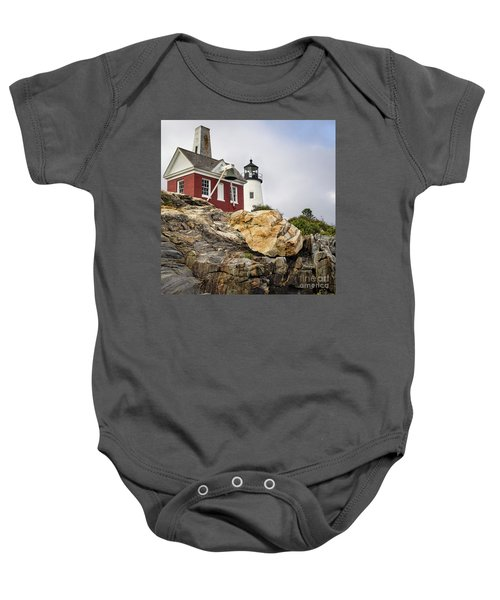 Pumphouse And Tower, Pemaquid Light, Bristol, Maine  -18958 Baby Onesie