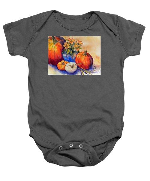 Pumpkins And Blue Vase Baby Onesie