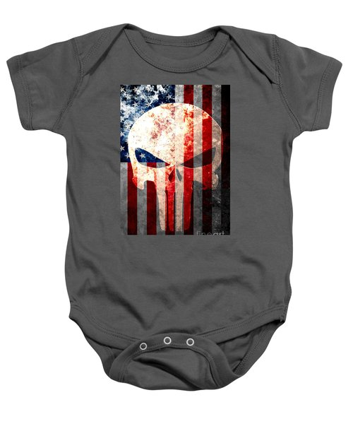 Punisher Themed Skull And American Flag On Distressed Metal Sheet Baby Onesie