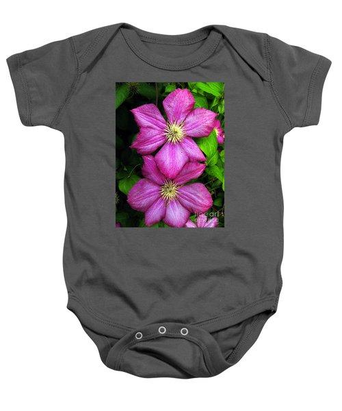 Purple Clematis 2 Baby Onesie