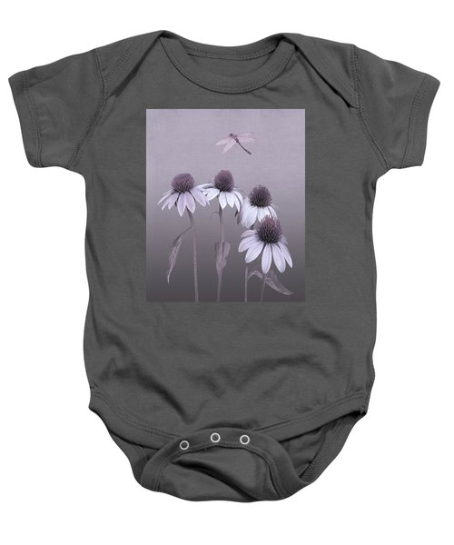 Purple Coneflowers And Dragonfly Baby Onesie