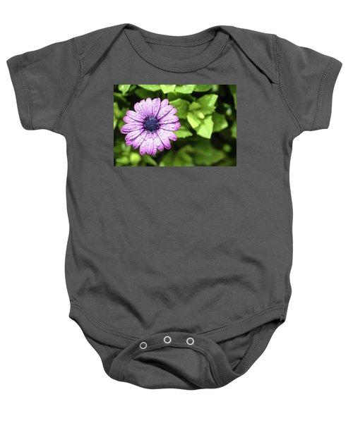 Purple Flower On Green Baby Onesie