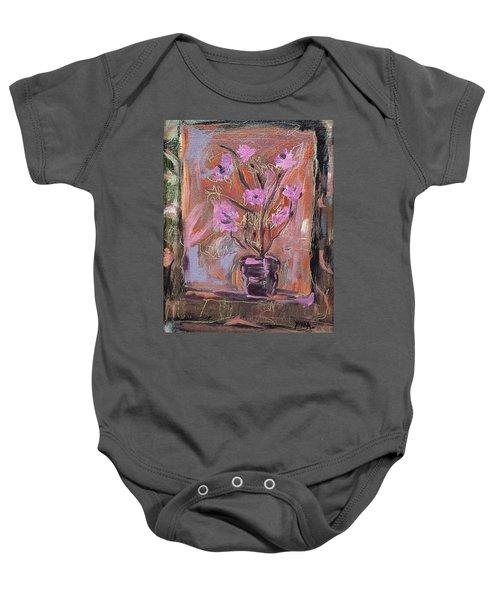 Purple Flowers In Vase Baby Onesie