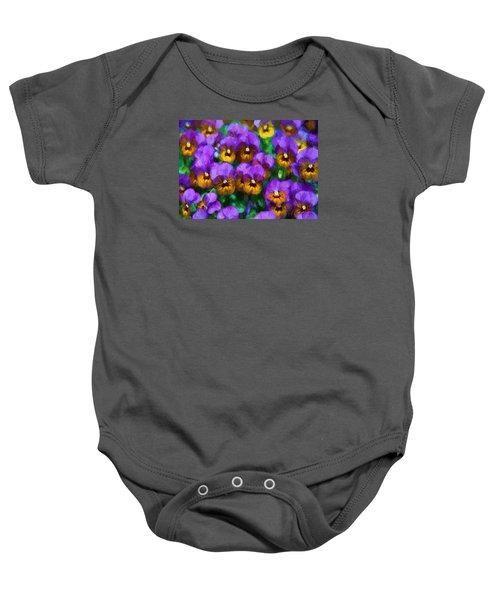 Purple Pansies Baby Onesie