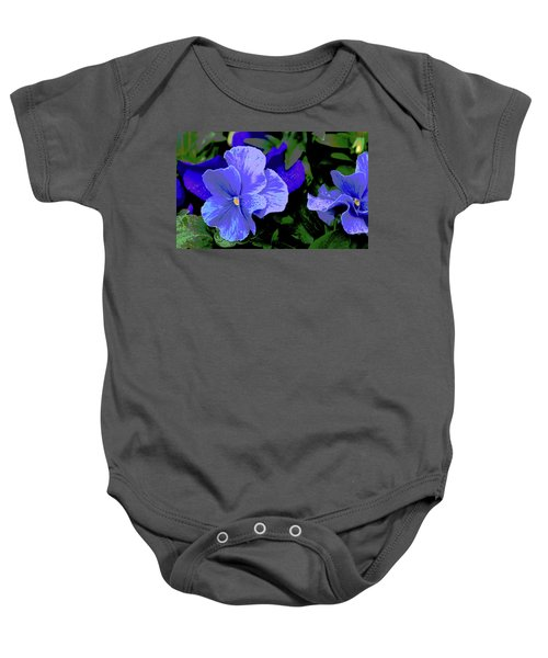 Purple Pansy Posterized Baby Onesie