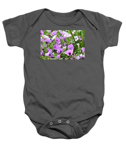 Purple Petunias Baby Onesie