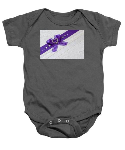 Purple Ribbon Heart Baby Onesie