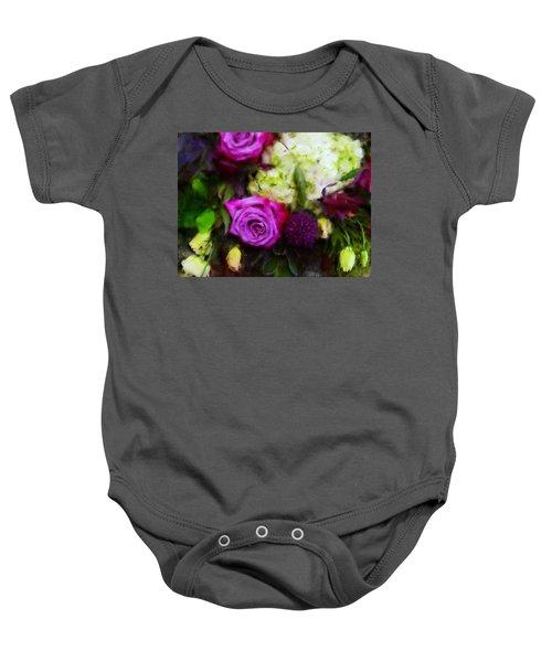 Purple Roses With Hydrangea Baby Onesie