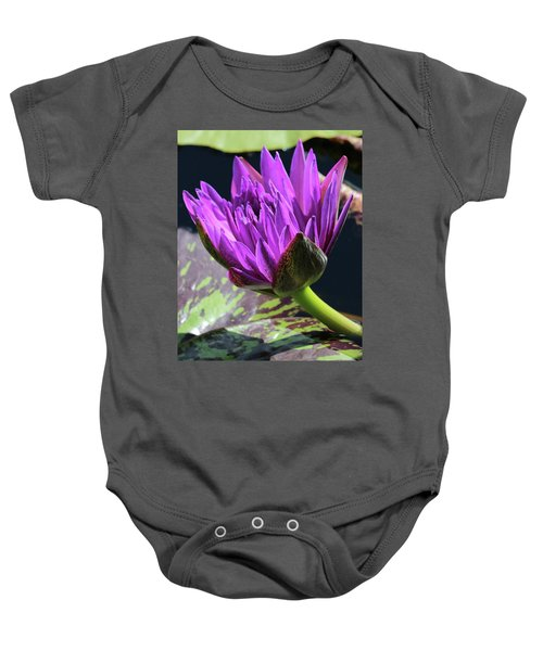 Purple Water Lily Baby Onesie
