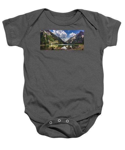 Pyramid Peak, Maroon Bells, And Crater Lake Panorama Baby Onesie