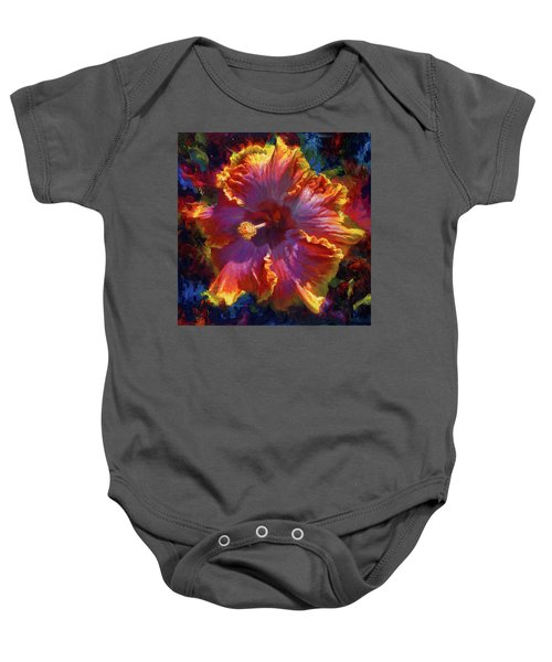 Rainbow Hibiscus Tropical Flower Wall Art Botanical Oil Painting Radiance  Baby Onesie