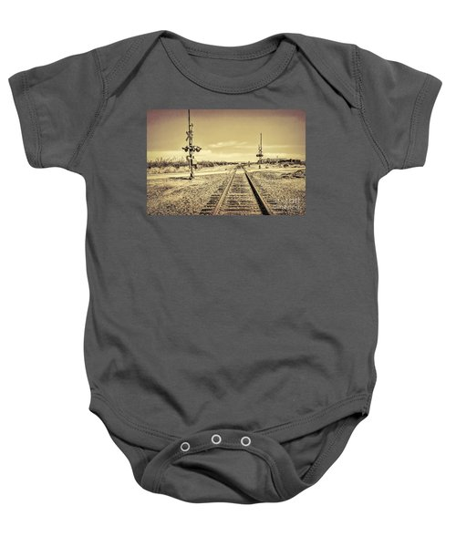 Railroad Crossing Textured Baby Onesie
