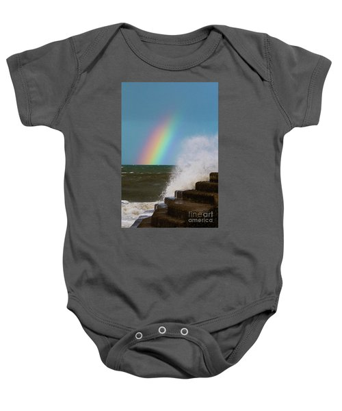 Rainbow Over The Crashing Waves Baby Onesie