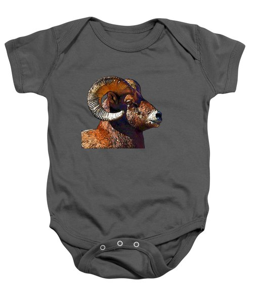 Ram Portrait - Rocky Mountain Bighorn Sheep By Olena Art Baby Onesie
