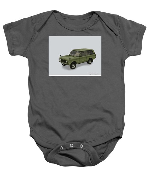 Baby Onesie featuring the mixed media Range Rover Classical 1970 by TortureLord Art