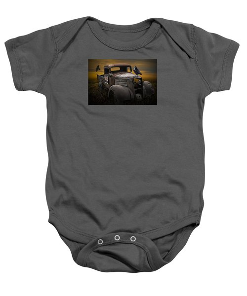 Raven Hood Ornament On Old Vintage Chevy Pickup Truck Baby Onesie