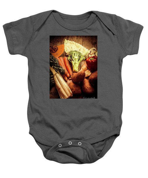 Raw Vegetables On Wooden Background Baby Onesie by Jorgo Photography - Wall Art Gallery
