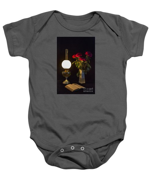Reading By Oil Lamp Baby Onesie