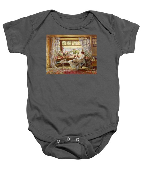 Reading By The Window Baby Onesie