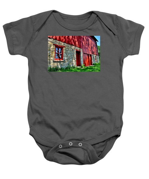 Red Barn In The Shade Baby Onesie