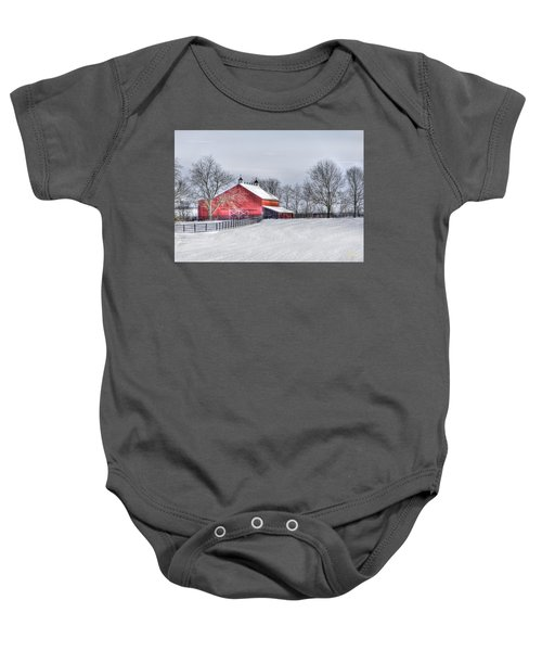 Red Barn Winter Baby Onesie
