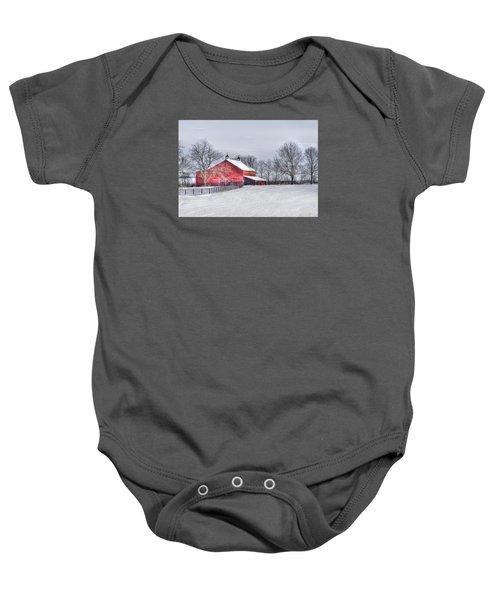 Red Barn Winter Baby Onesie