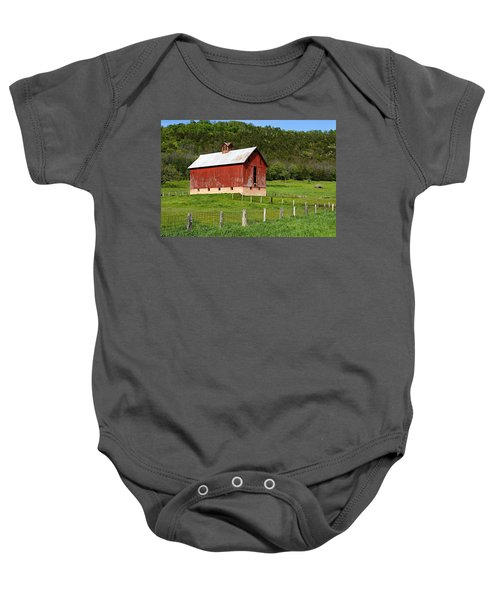 Red Barn With Cupola Baby Onesie