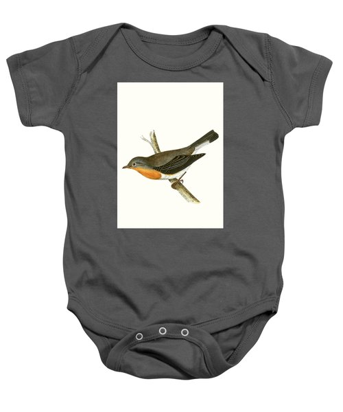 Red Breasted Flycatcher Baby Onesie by English School