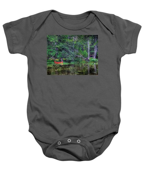 Baby Onesie featuring the photograph Red Canoe Among The Reeds by David Patterson