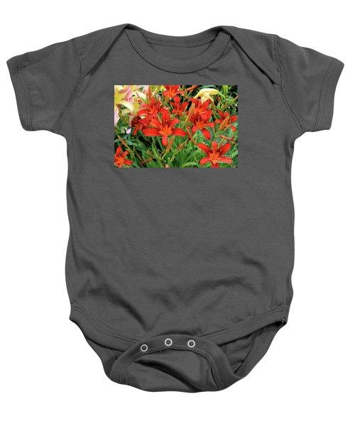 Red Daylilies Baby Onesie