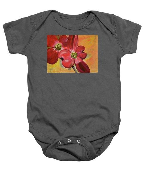 Red Dogwood - Canvas Wine Art Baby Onesie