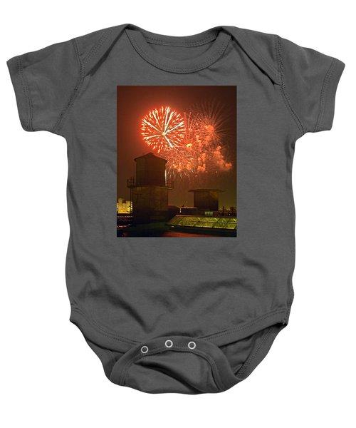 Red Fireworks Baby Onesie
