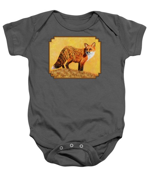Red Fox Painting - Looking Back Baby Onesie by Crista Forest