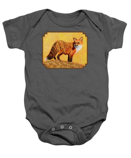 Red Fox Painting - Looking Back Baby Onesie