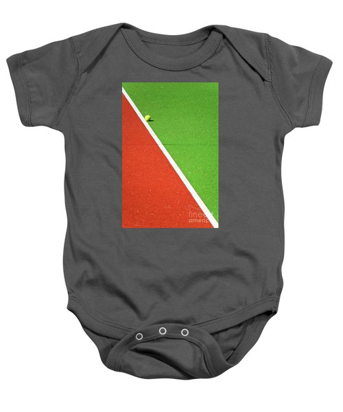 Red Green White Line And Tennis Ball Baby Onesie by Silvia Ganora