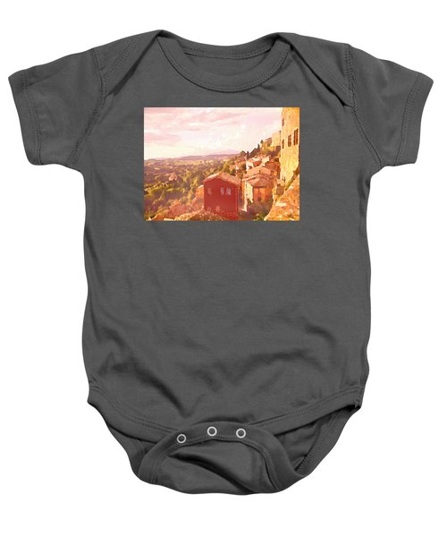 Red House On A Hill Baby Onesie