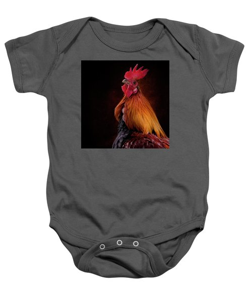 Red Jungle Fowl Rooster Baby Onesie