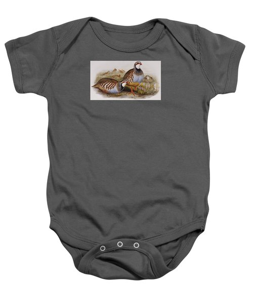 Red-legged Partridges Baby Onesie by John Gould