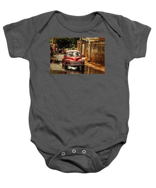 Red Retromobile. Morris Minor Baby Onesie