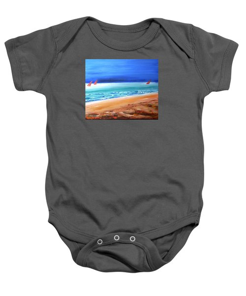 Baby Onesie featuring the painting Red Sails by Winsome Gunning