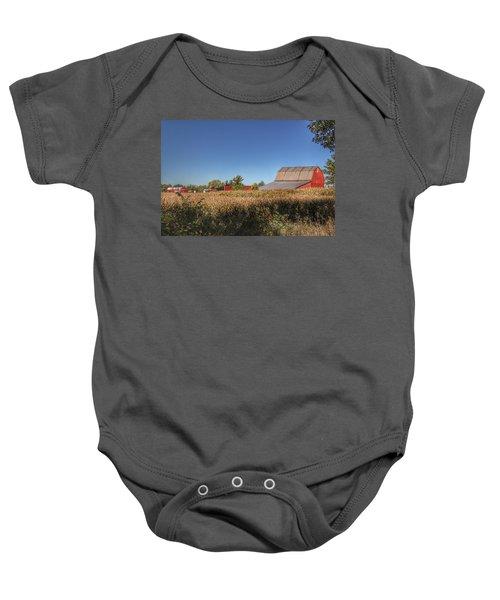 0042 - Red Saltbox Barn Baby Onesie