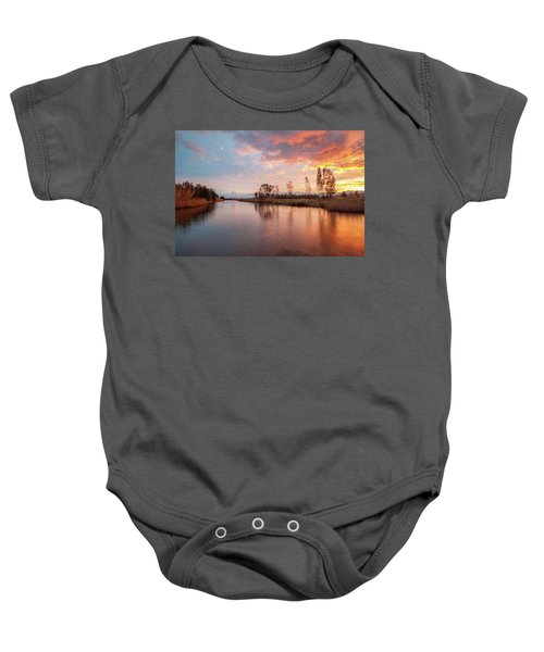 Red Sunset On The Pond Baby Onesie