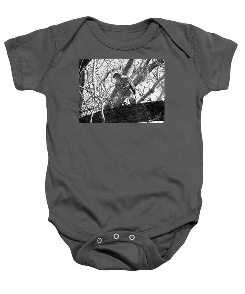 Red Tail Hawk In Black And White Baby Onesie