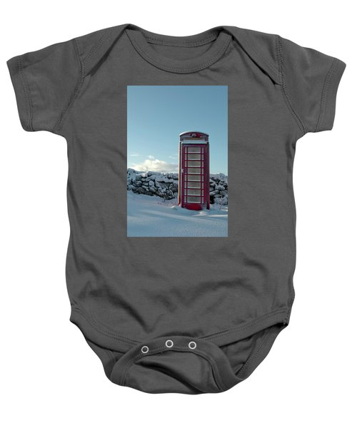 Red Telephone Box In The Snow IIi Baby Onesie