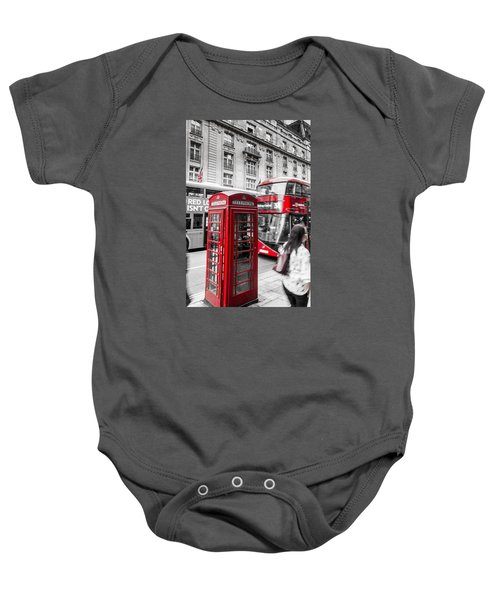 Red Telephone Box With Red Bus In London Baby Onesie