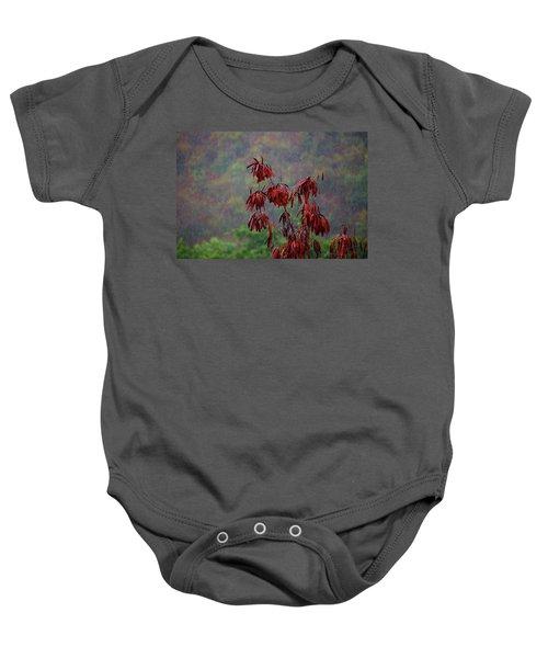 Red Tree In The Rain Baby Onesie