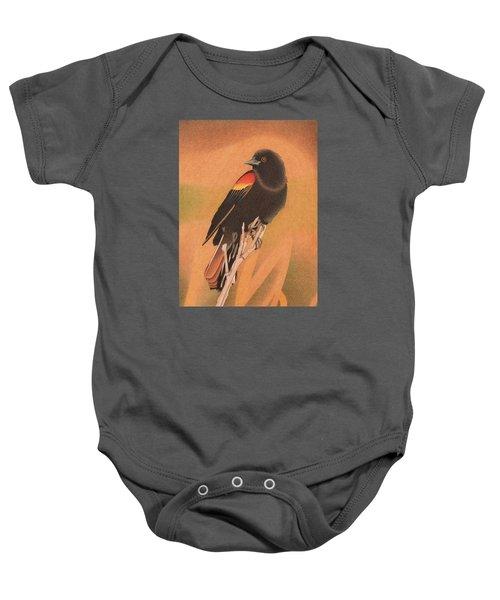 Red-winged Blackbird 3 Baby Onesie