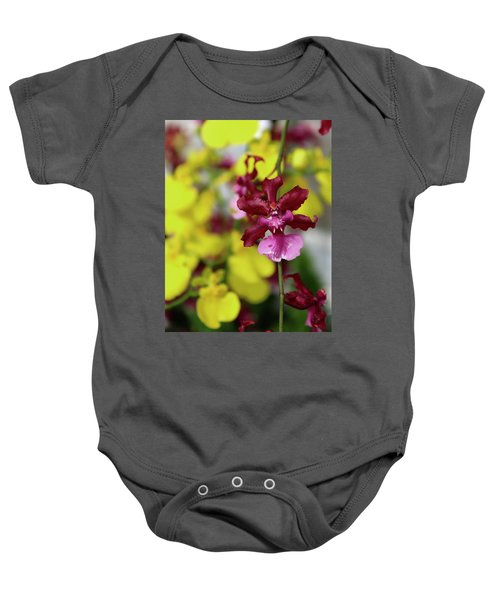 Maroon And Yellow Orchid Baby Onesie
