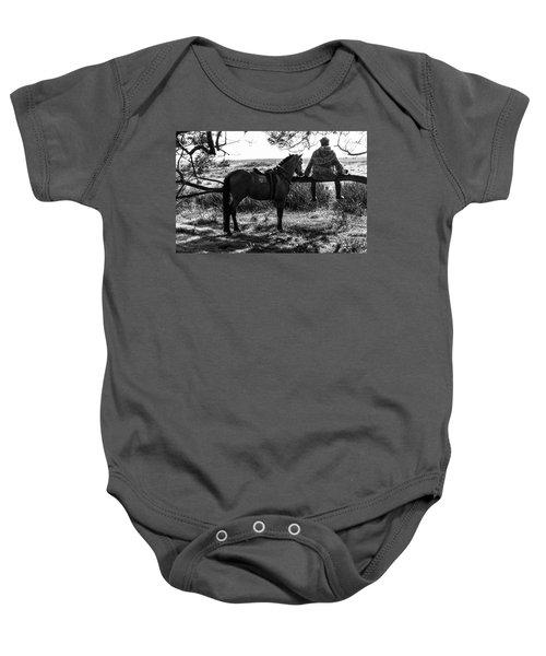 Rider And Horse Taking Break Baby Onesie